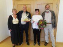 Gästeehrung am 30.8.2021, 50. Aufenthalt von Schuler Ingrid und Peter bei Familie Häfele.